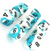 Teal & White Gemini D10 Ten Sided Dice Set